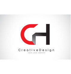 Red and black ch c h letter logo design creative vector