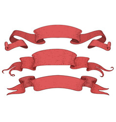red ribbon banners set scrolls hand drawn vector image