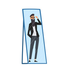 Reflection successful hipster man in mirror vector