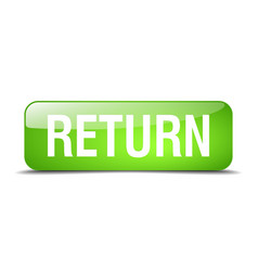 Return green square 3d realistic isolated web vector