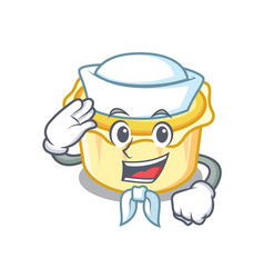 Sailor egg tart character cartoon vector