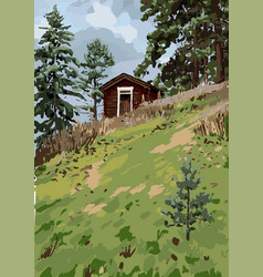 scandinavian landscape with traditional wooden vector image