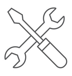 screwdriver and wrench thin line icon settings vector image