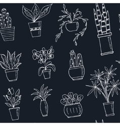 Seamless pattern plants in a pot Hand drawn doodle vector