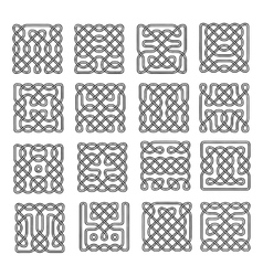 Set celtic or scandinavian element of pattern vector image