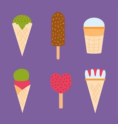set ice cartoon colorful cream dessert vector image