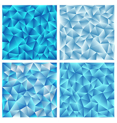 set of four blue triangular backgrouns vector image