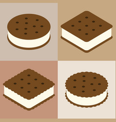 Set of ice cream sandwich cookie collection vector