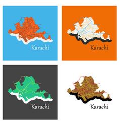set of karachi pakistan colorful flat map streets vector image