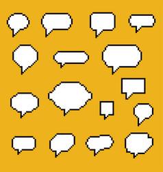 set pixel art speech bubbles vector image
