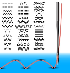 Set sewing stitches vector