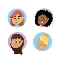 Set teacher woman with hairstyle design vector