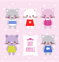 set with cute kittens in cartoon style vector image