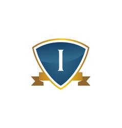 shield ribbon letter i vector image