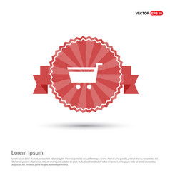 Shopping cart icon - red ribbon banner vector