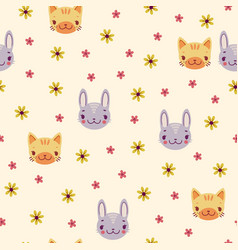 Simple retro pattern with daisies and animals vector