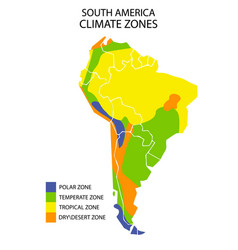 South america climate zones map geographic vector