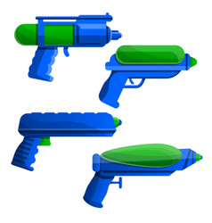 squirt gun icon set cartoon style vector image