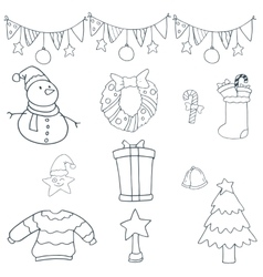 Stock collection christmas of doodle vector