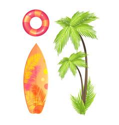 surfing board summer set icon vector image