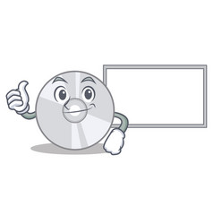 thumbs up with board cd character cartoon style vector image