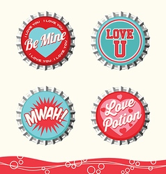 Valentine bottle caps 2 vector