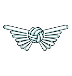 volleyball balloon with wings isolated icon vector image