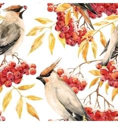 Watercolor waxwing and rowan pattern vector image
