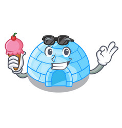 with ice cream cartoon dome igloo ice house snow vector image