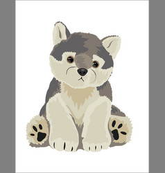 Wolf stuffed toy vector