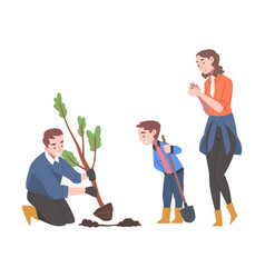 Young family with kid planting tree sapling in vector