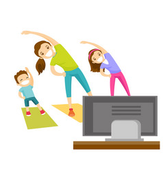 young mother and her kids doing gymnastics at home vector image