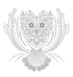 Zentangle Owl Coloring highly detailed isolated on vector image