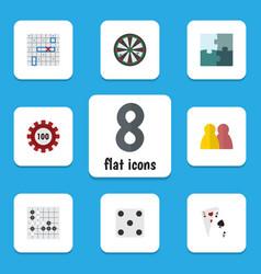 flat icon entertainment set of jigsaw gomoku vector image vector image