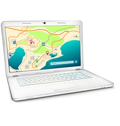 Modern laptop with city map on display vector