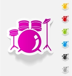 realistic design element drum set vector image