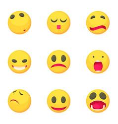 sad smile face icons set cartoon style vector image