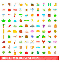 100 farm and harvest icons set cartoon style vector image