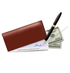 brown checkbook vector image