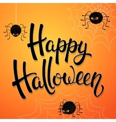Halloween greeting card with angry spiders vector image vector image