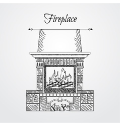 Hand drawn fireplace isolated on white background vector image