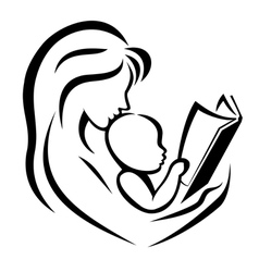 mother and child reading the book vector image