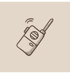 Portable radio set sketch icon vector image