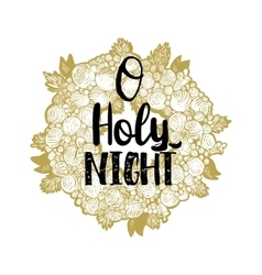 Xmas golden wreath and Holy Night vector image vector image