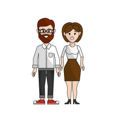 Couple man with beard and woman with shot hair vector