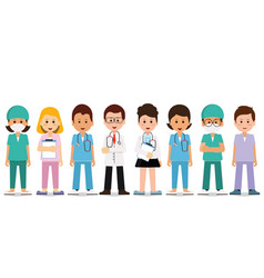 medical team isolated on white vector image vector image