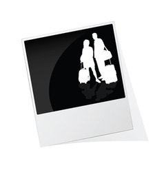 polaroid photo frame with couple travel silhouette vector image