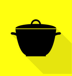 saucepan simple sign black icon with flat style vector image vector image