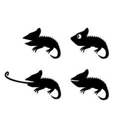 set of lizard in silhouette style side view vector image vector image
