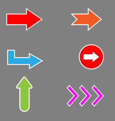 arrow set arrow arrow icon on gray background vector image